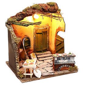 Illuminated oven scene 30x30x30 cm for Neapolitan nativity scene s5