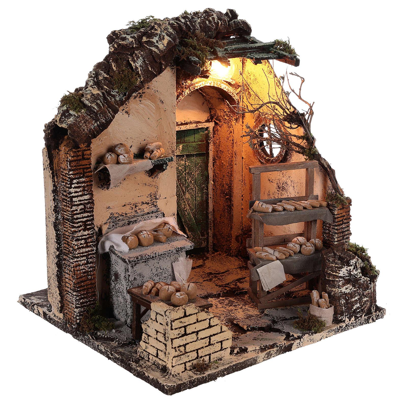 Escena pan iluminado 30x30x30 ambientación belén Nápoles 4