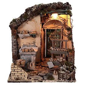 Neapolitan Nativity Scene: Illuminated bread scene 30x30x30 cm for Neapolitan nativity scene