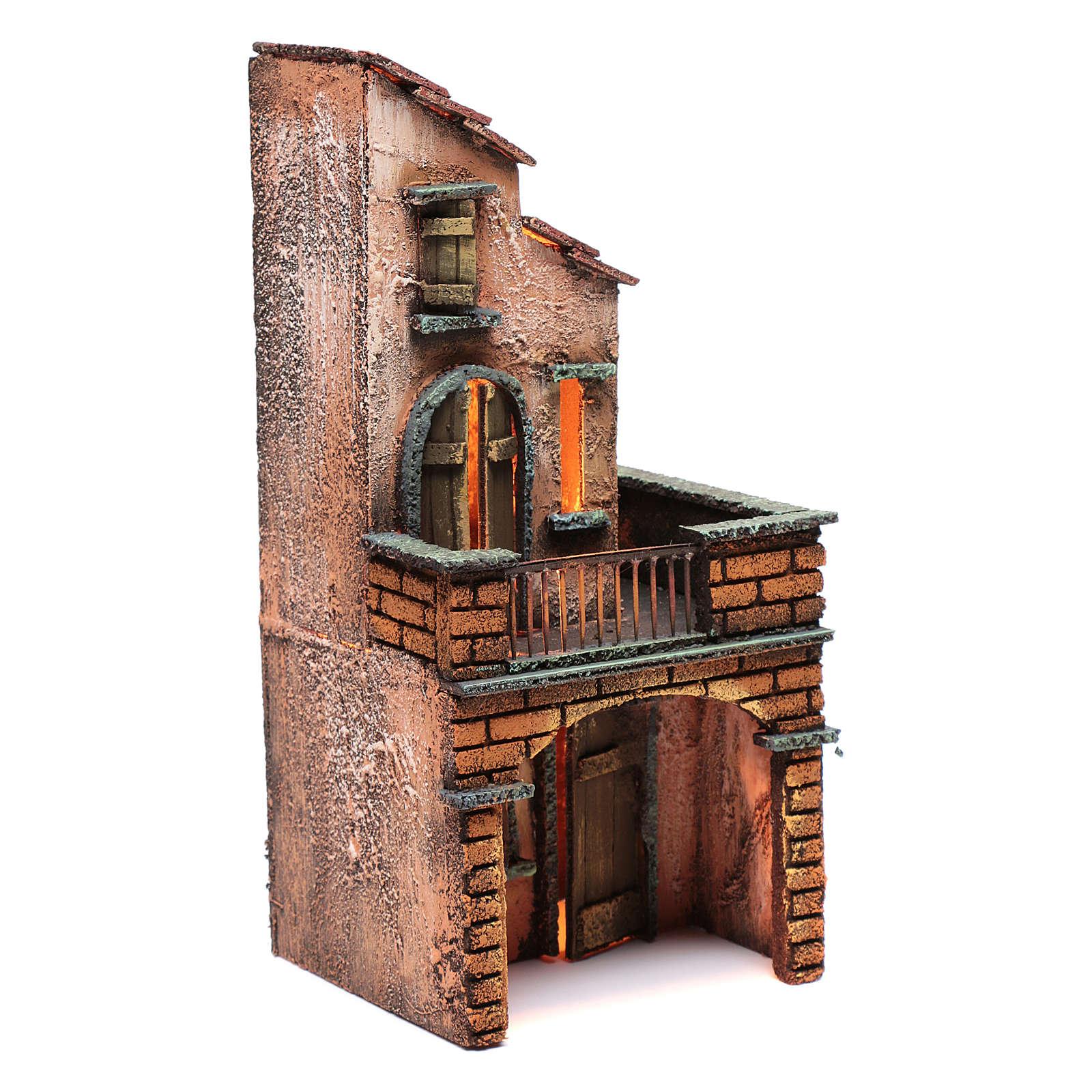 Casa in legno presepe napoletano 30x15x15 illuminata 4