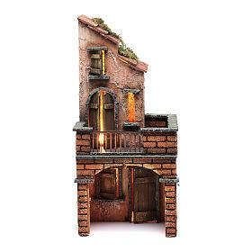 Casa in legno presepe napoletano 30x15x15 illuminata s1
