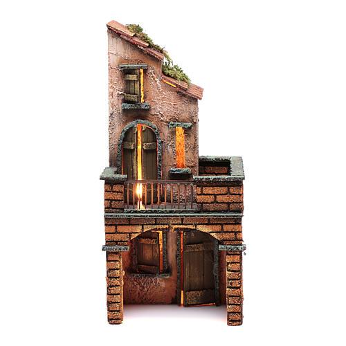Casa in legno presepe napoletano 30x15x15 illuminata 1