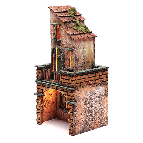 Casa in legno presepe napoletano 30x15x15 illuminata 2