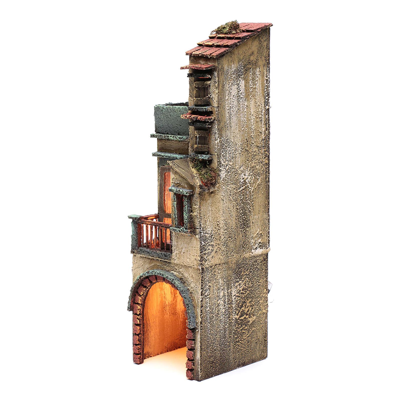 Bourgade pour crèche napolitaine 35x10x10 cm éclairée 4