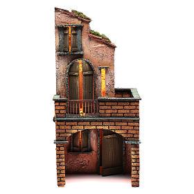 Presépio Napolitano: Casa em madeira presépio napolitano 40x20x20 cm iluminada