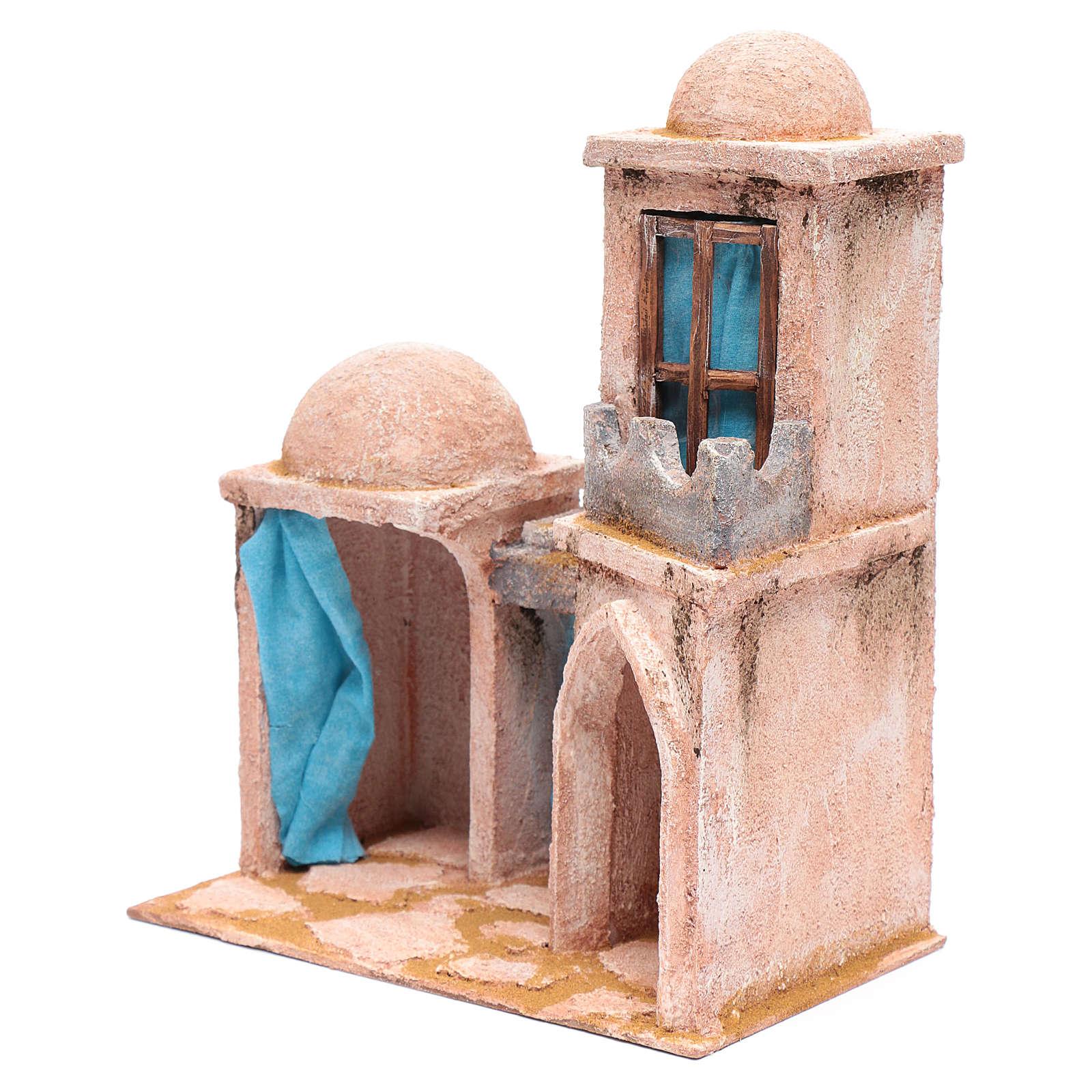 Casita de estilo árabe con balcón 30x25x15 cm 4