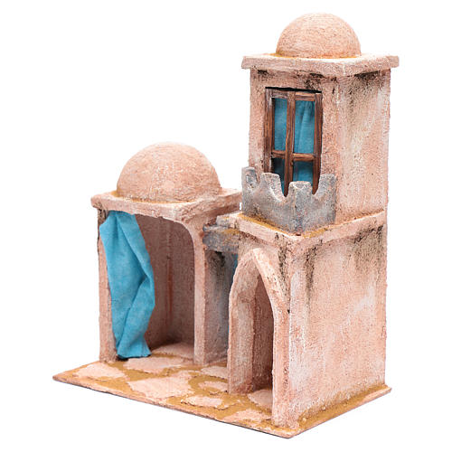 Casetta di stile arabo con balconcino 30x25x15 cm 2