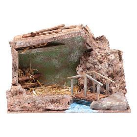 Hut near stream 20x30x15 cm for nativity scene s1