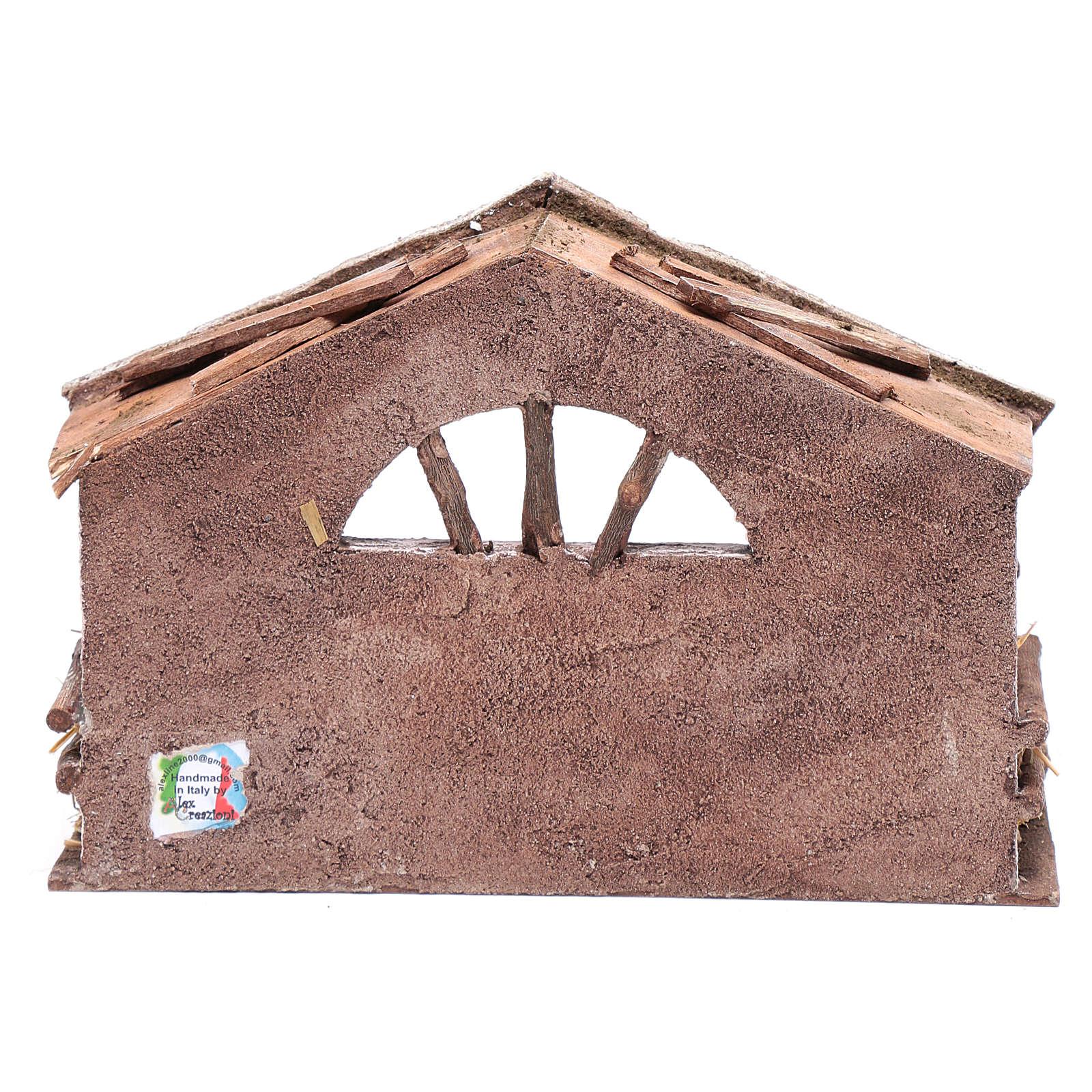Capanna con finestra ad arco 20x30x15 cm per presepe 4