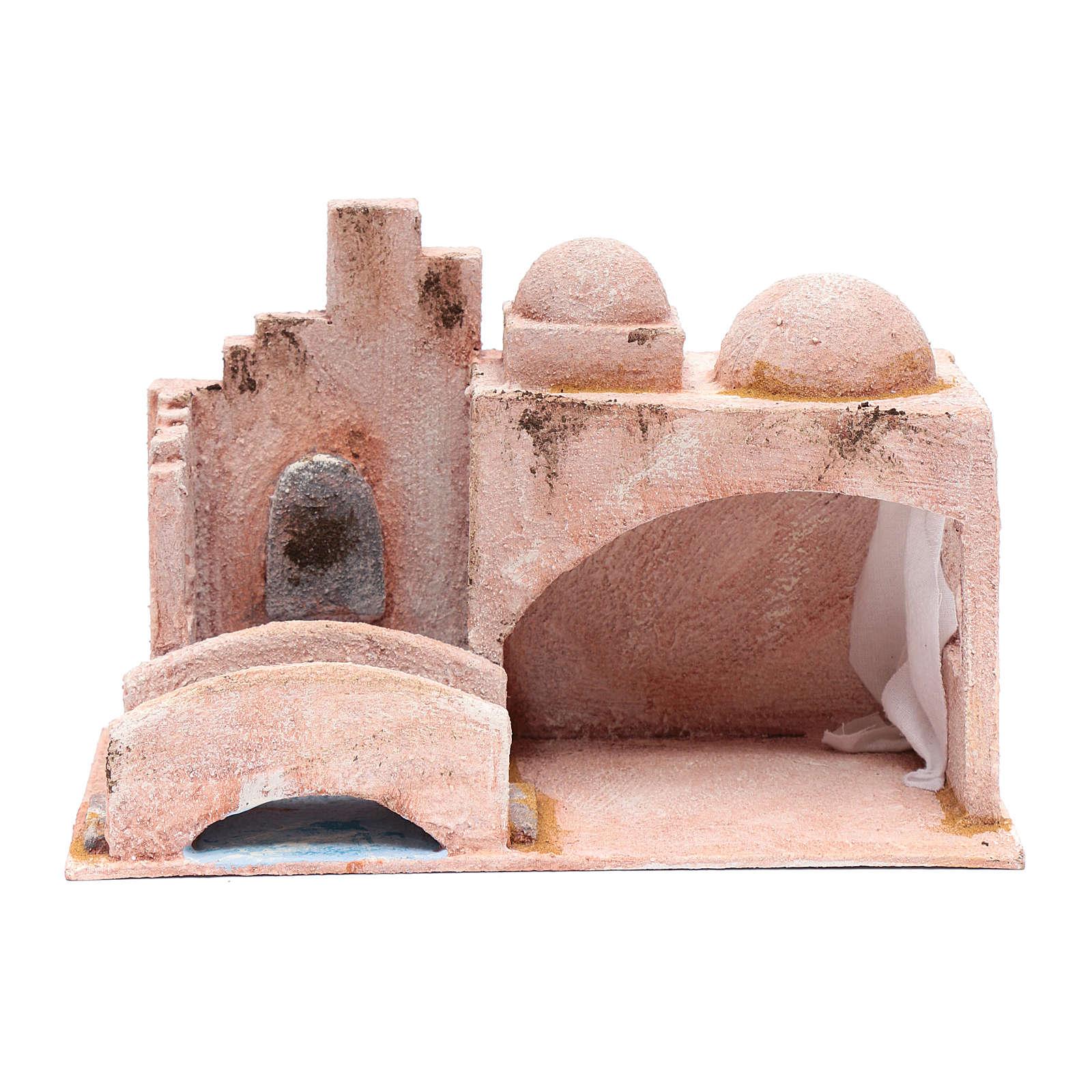 Capanna stile arabo con laghetto 18,5x29x15 presepe 10 cm 4