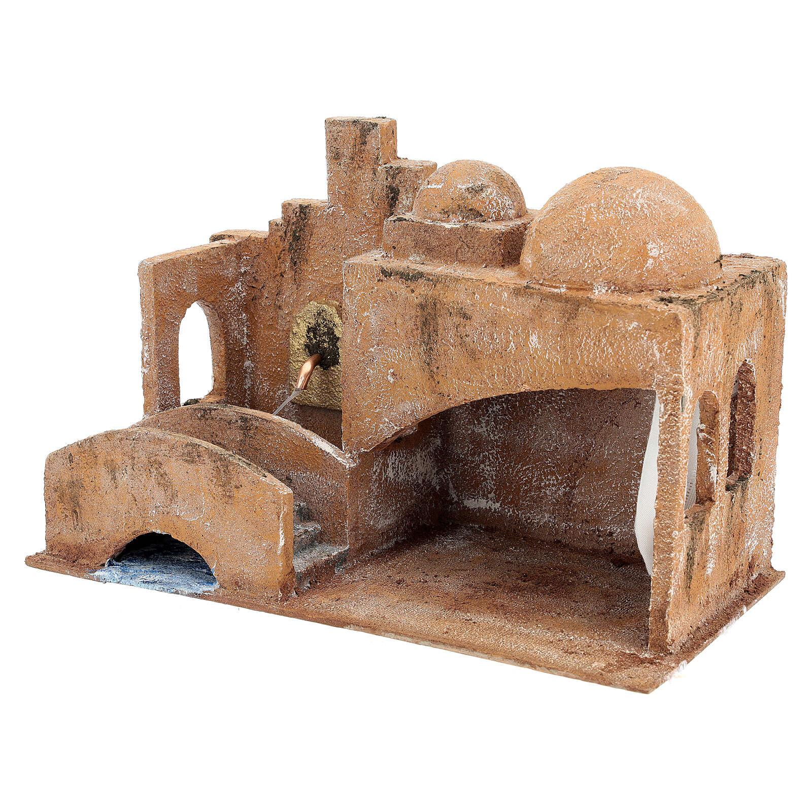 Capanna stile arabo con laghetto 20x35x20 presepe 12 cm 4
