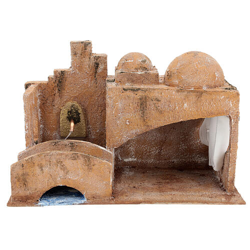 Capanna stile arabo con laghetto 20x35x20 presepe 12 cm 1