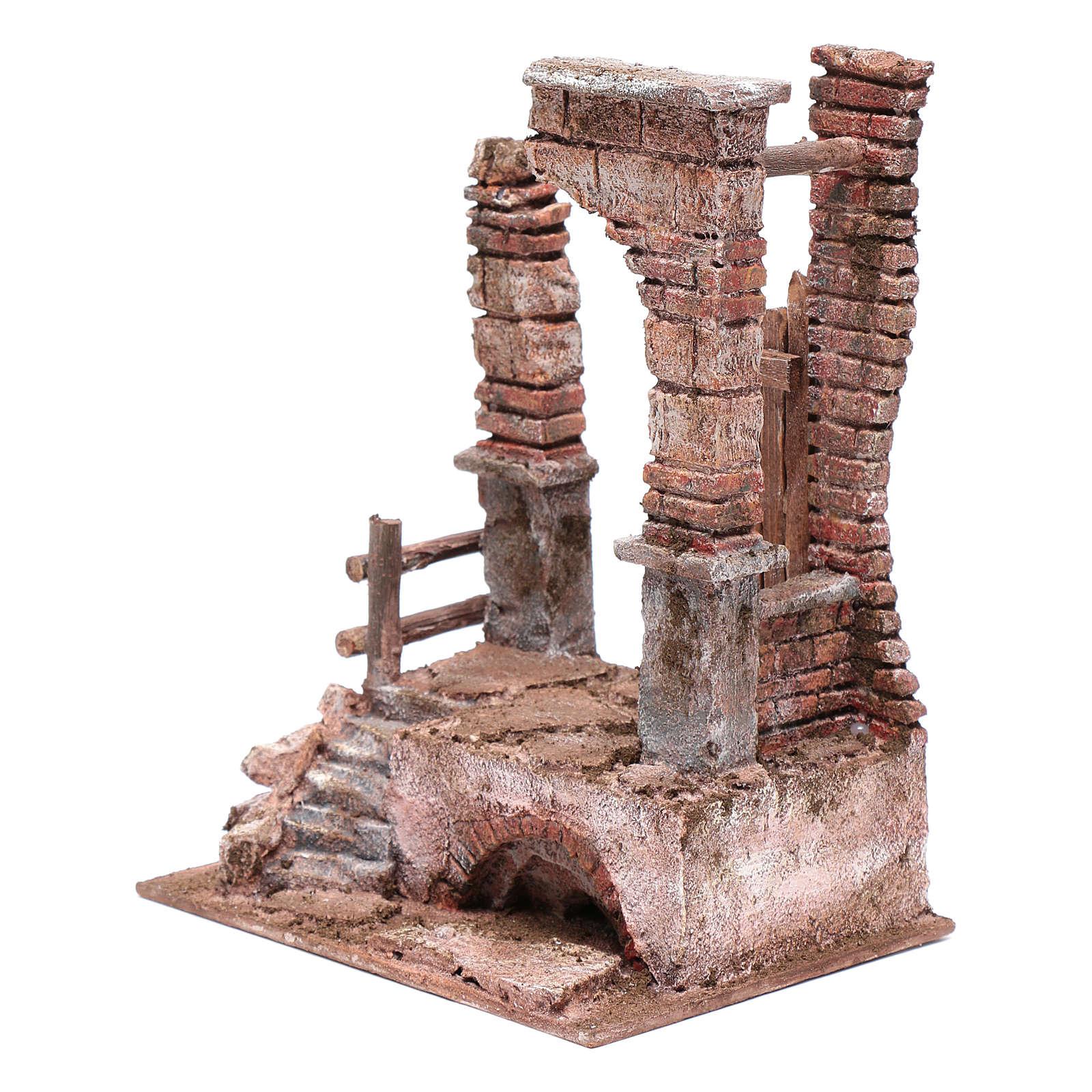 Temple avec colonnes en briques 25x20x15 cm 4
