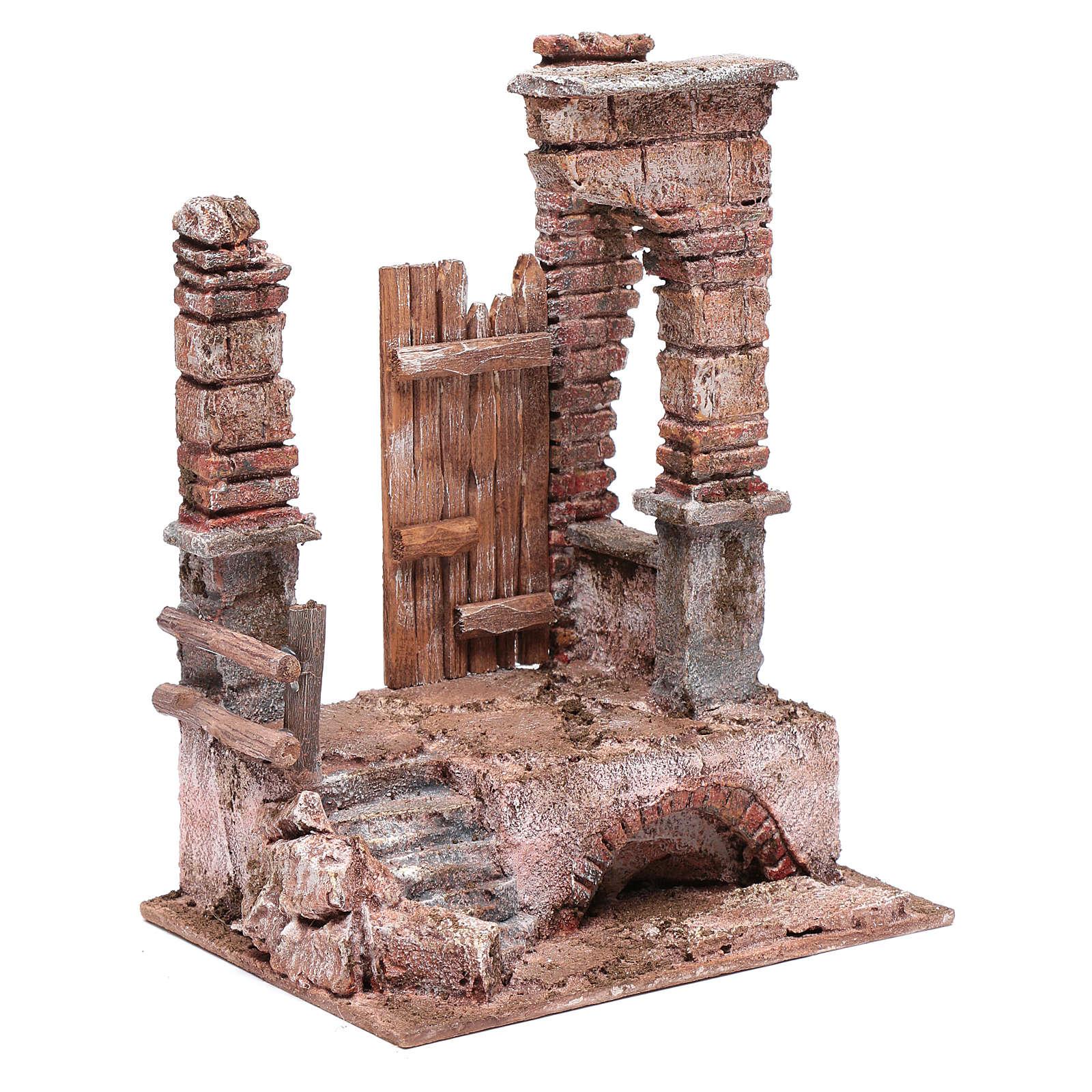 Tempio con colonne in mattoni 25x20x15 cm 4