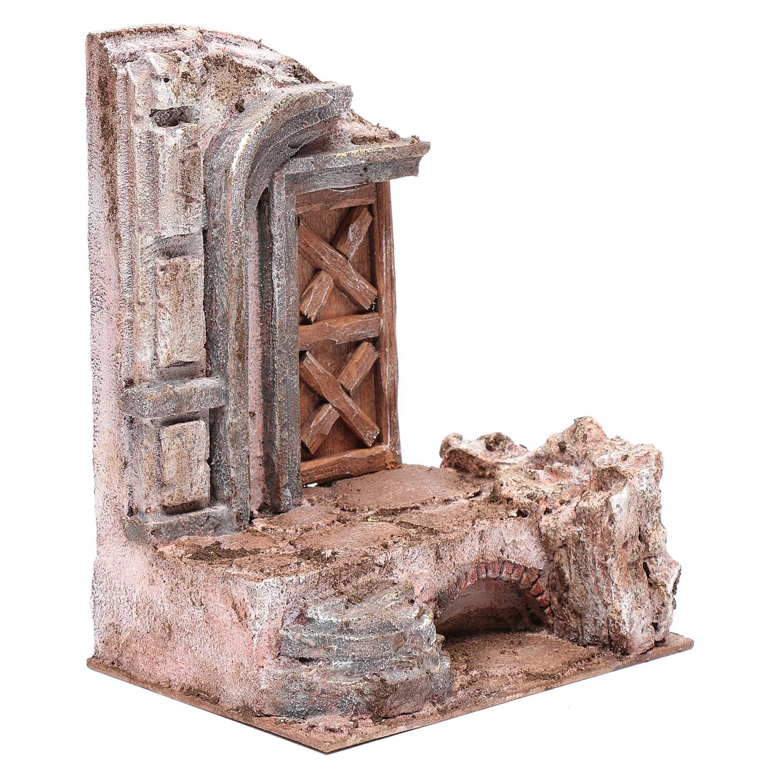 Tempio porta legno 25x20x15 cm per presepe 4