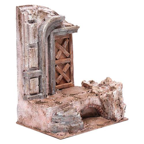 Tempio porta legno 25x20x15 cm per presepe 3