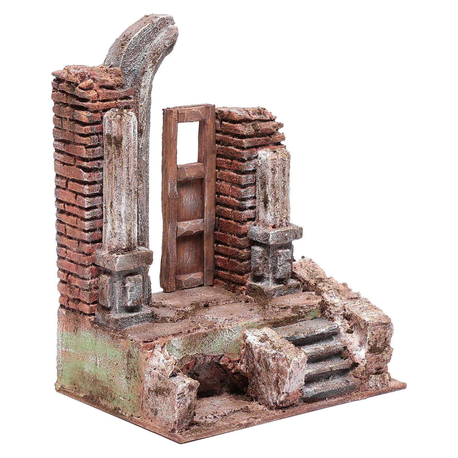 Temple with half round arch and door 25x20x15 cm 4