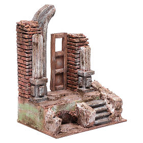 Temple with half round arch and door 25x20x15 cm s3