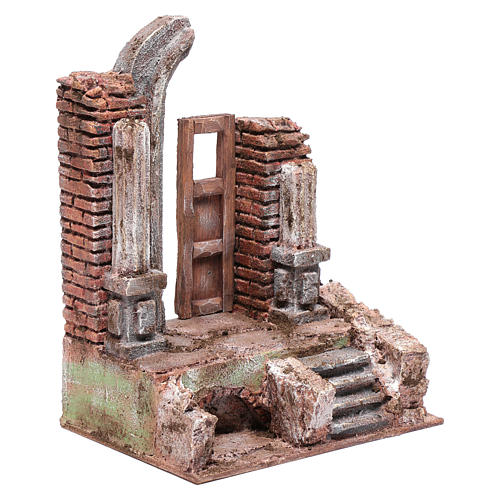 Temple with half round arch and door 25x20x15 cm 3