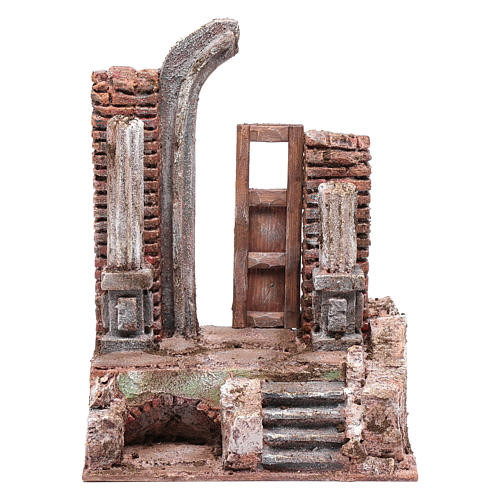 Temple with half round arch and door 25x20x15 cm 1