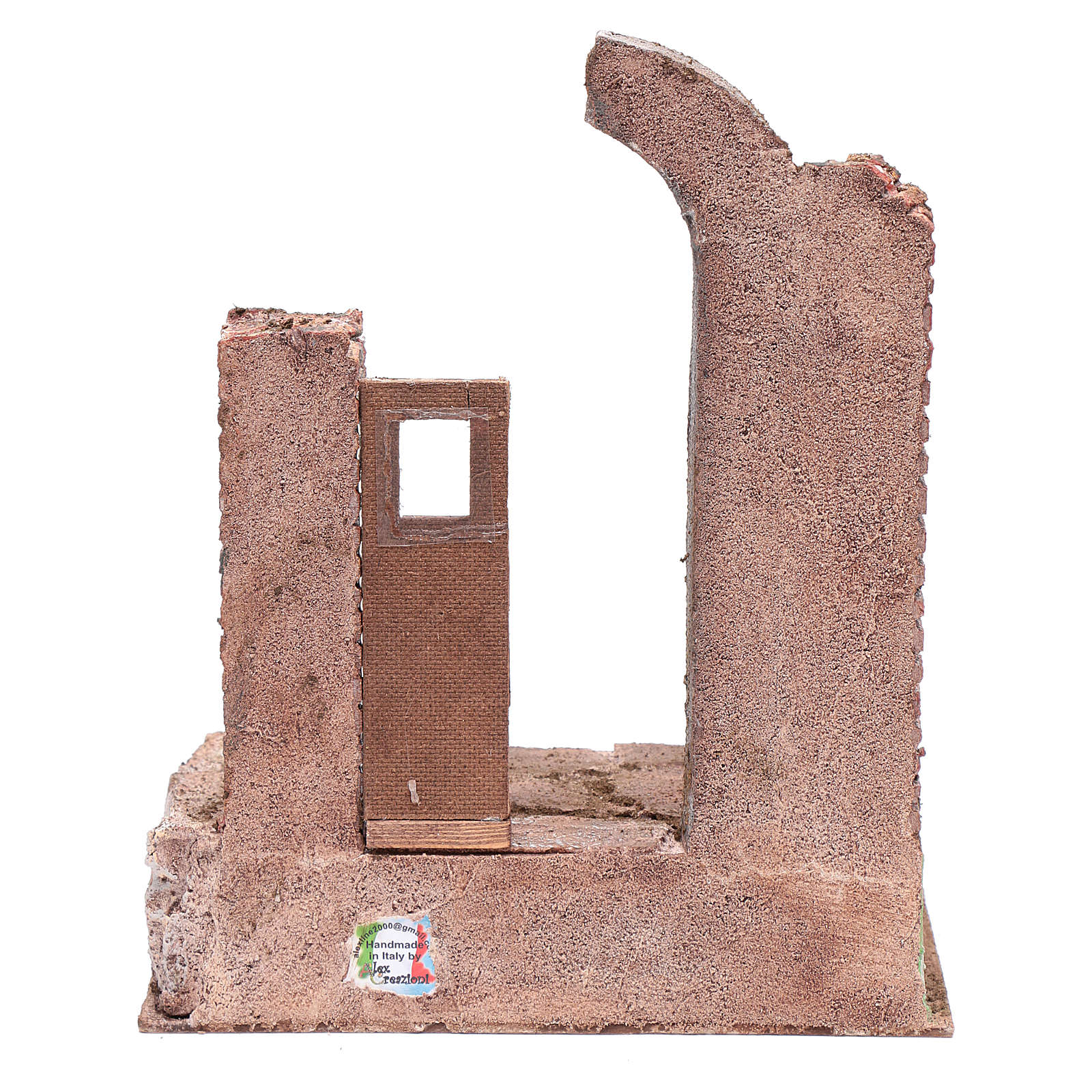 Temple with half round arch and door 30x25x20 cm 4