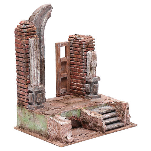 Temple with half round arch and door 30x25x20 cm 3