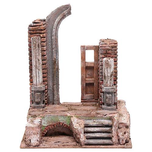 Temple avec porte et demi-arc crèche 29,5x24x18 cm 1