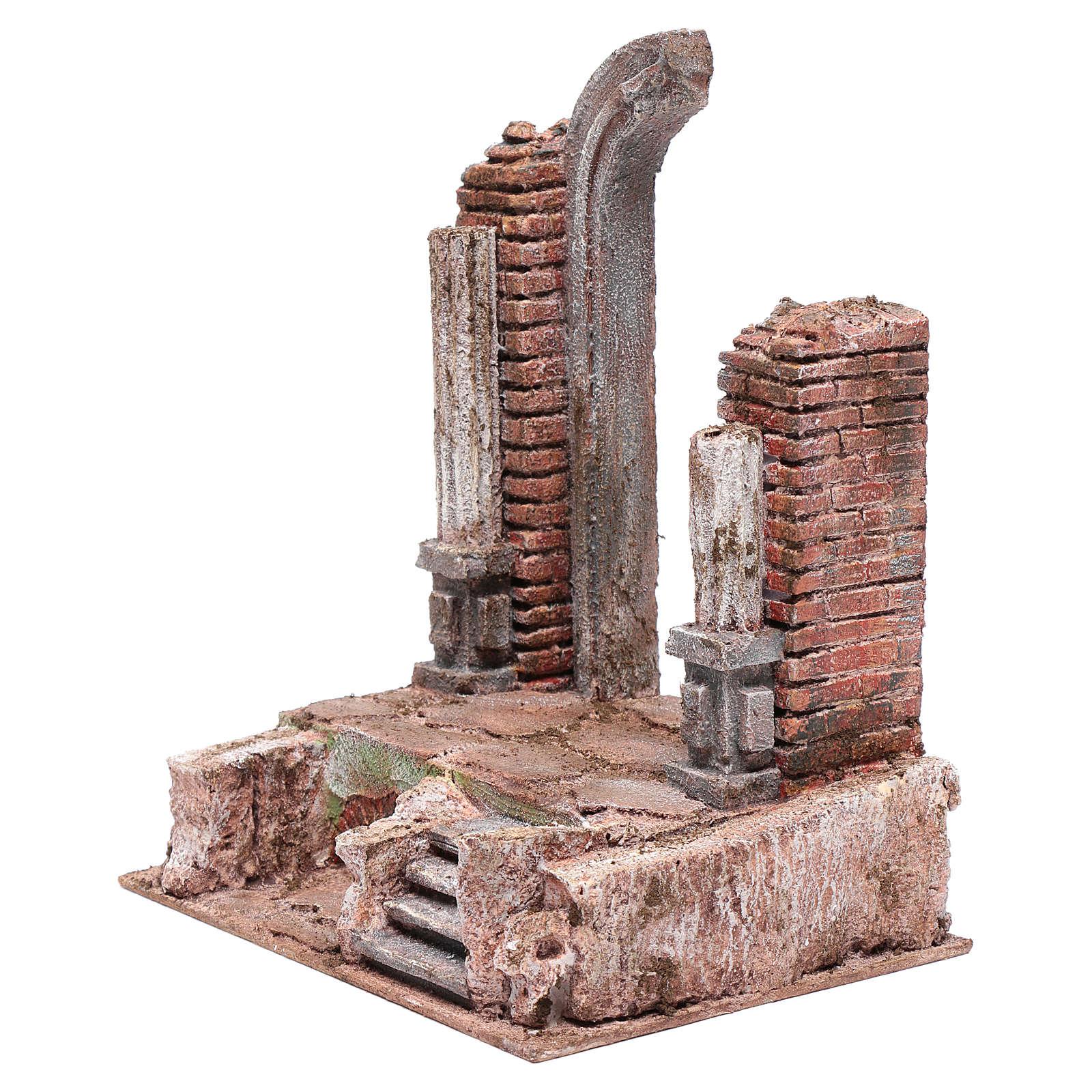 Tempio con porta e mezzo arco 30x25x20 cm 4