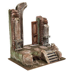 Temple with half round arch and door 30x25x20 cm s3
