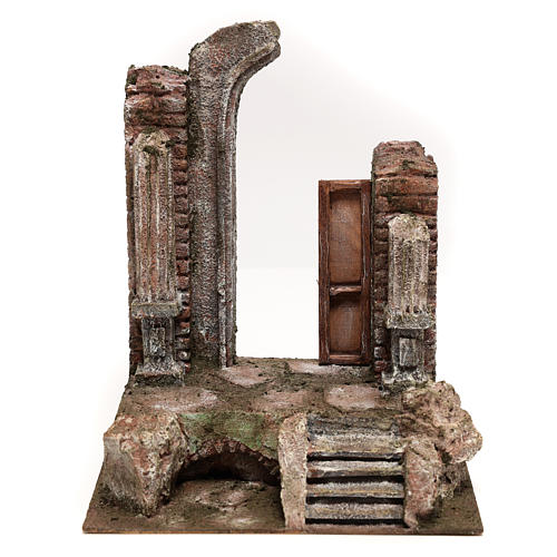Temple with half round arch and door 30x25x20 cm 1
