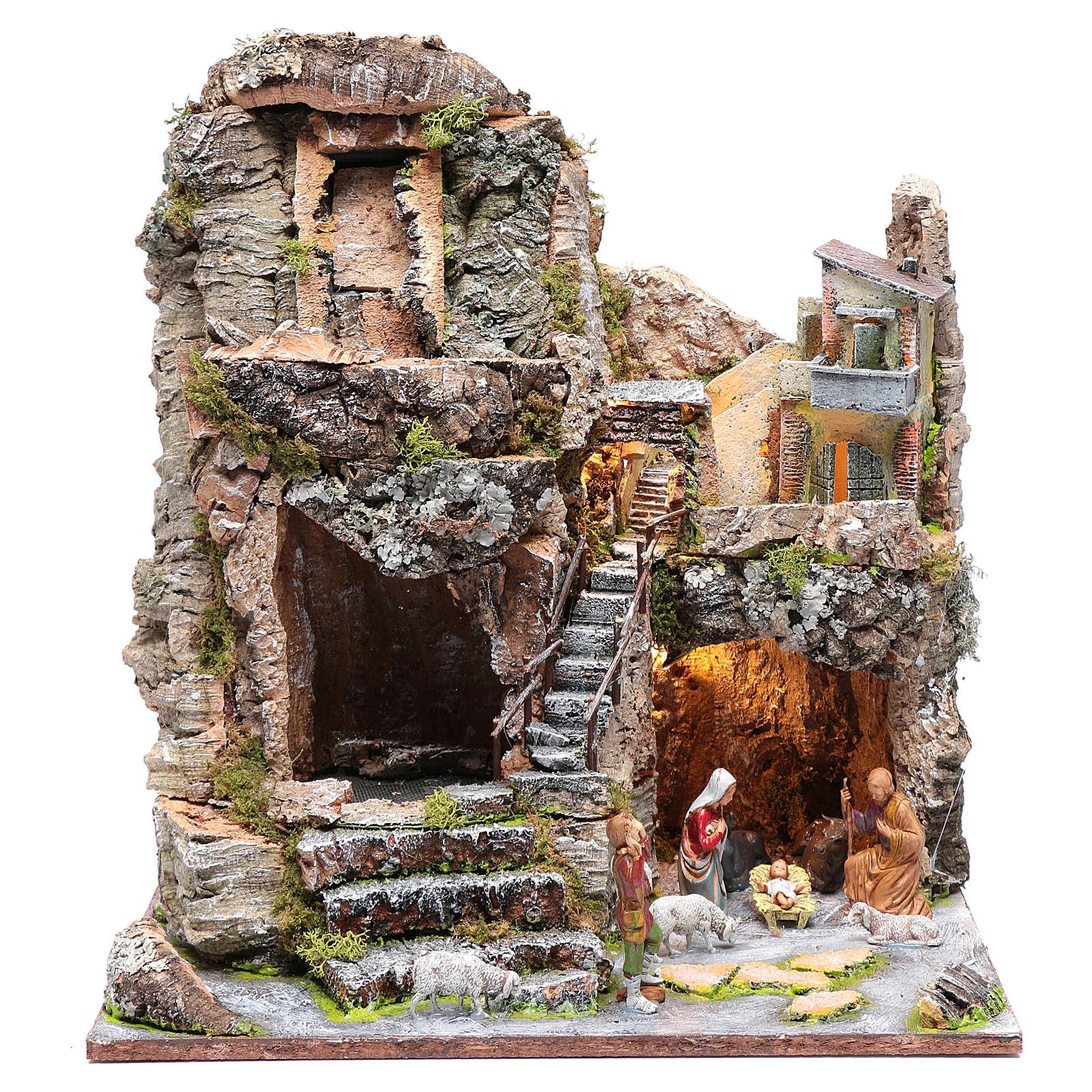 Grotta con cascata e Natività 40x35x30 cm 4
