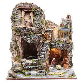 Grotta con cascata e Natività 40x35x30 cm s1