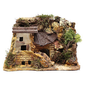 Settings, houses, workshops, wells: plaster house with woodshed 20x25x15 cm