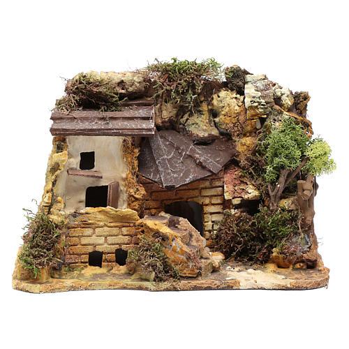 Casa in stucco con rimessa legna 20x25x15 cm 1