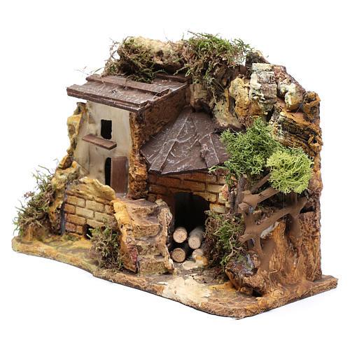 Casa in stucco con rimessa legna 20x25x15 cm 2