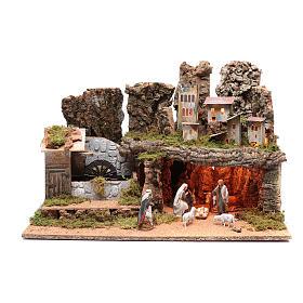 Paesaggio roccioso con mulino funzionante e luci 40x60x40 cm s1