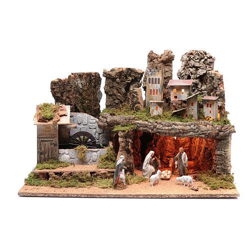 Paesaggio roccioso con mulino funzionante e luci 40x60x40 cm 1