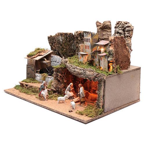 Paesaggio roccioso con mulino funzionante e luci 40x60x40 cm 2