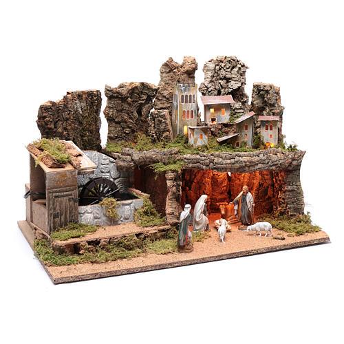 Paesaggio roccioso con mulino funzionante e luci 40x60x40 cm 3