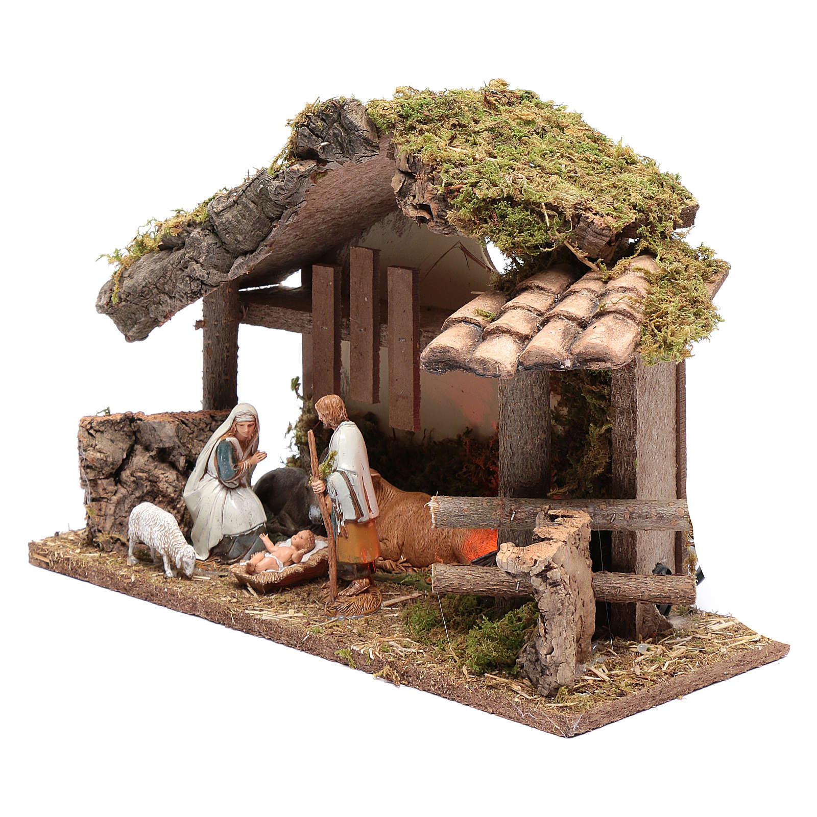 Cabane en bois avec feu 25x35x15 cm 4