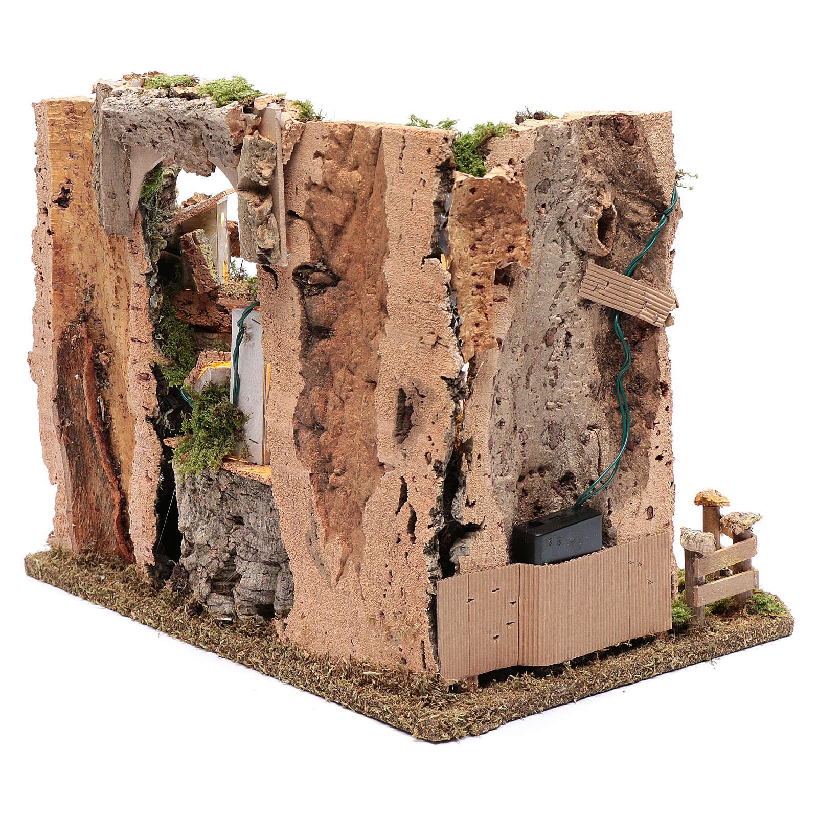 Paesaggio roccioso con borgo e luci 30x40x30 cm 4