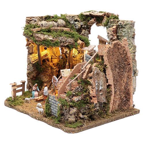 Paesaggio roccioso con borgo e luci 30x40x30 cm 2