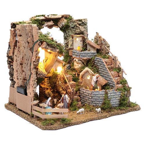 Paesaggio roccioso con borgo e luci 30x40x30 cm 3