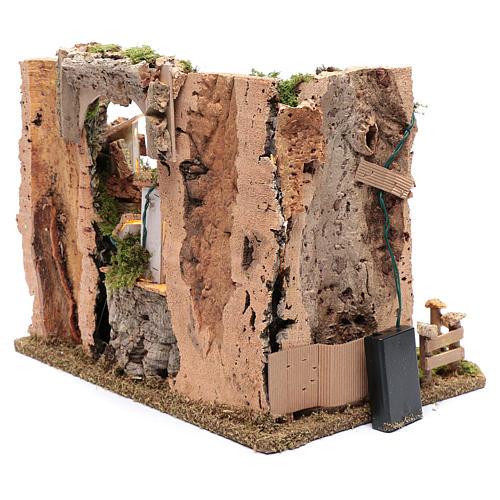 Paesaggio roccioso con borgo e luci 30x40x30 cm 5