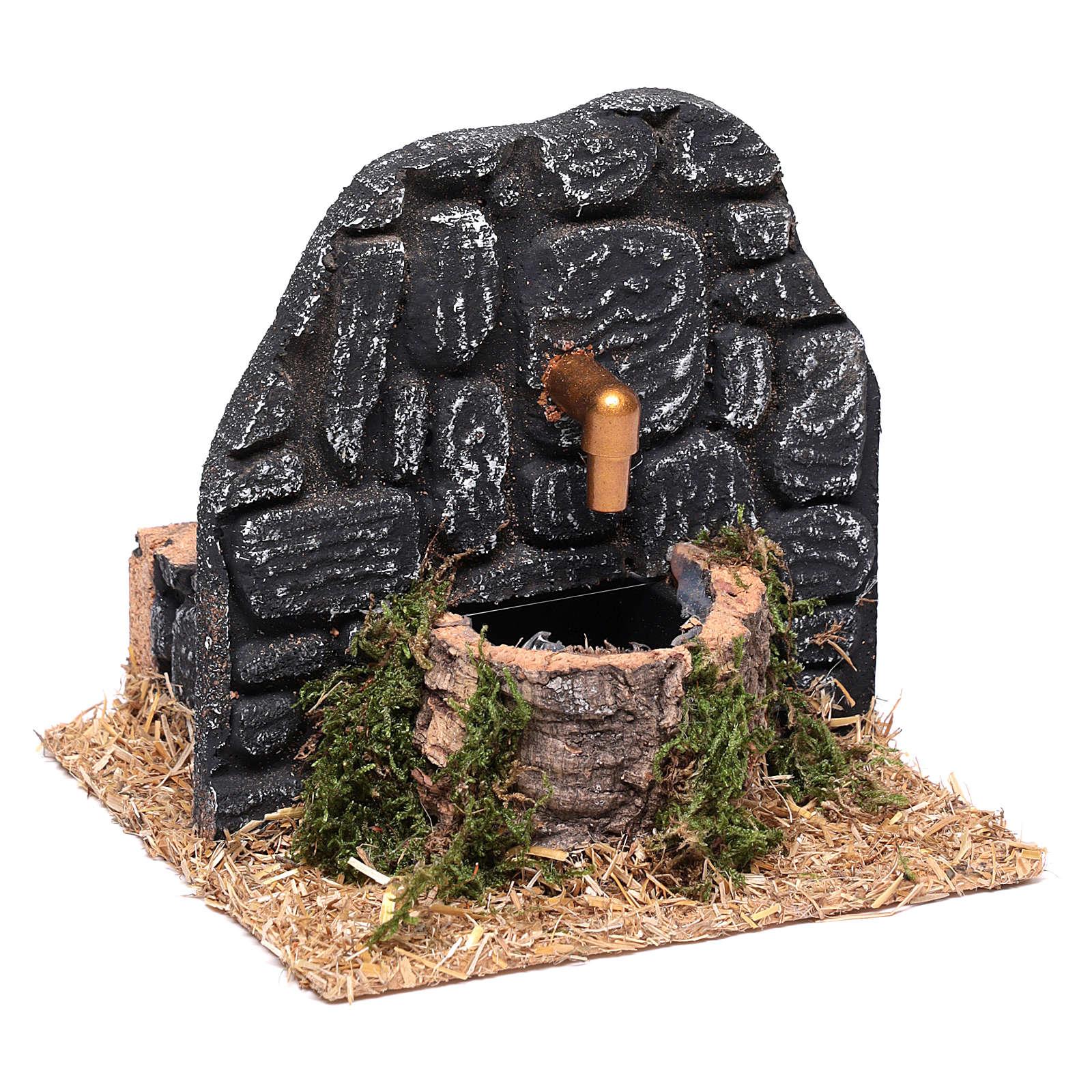 Chafariz com parede pedras escuras 15x15x15 cm 4