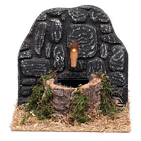 Chafariz com parede pedras escuras 15x15x15 cm s1