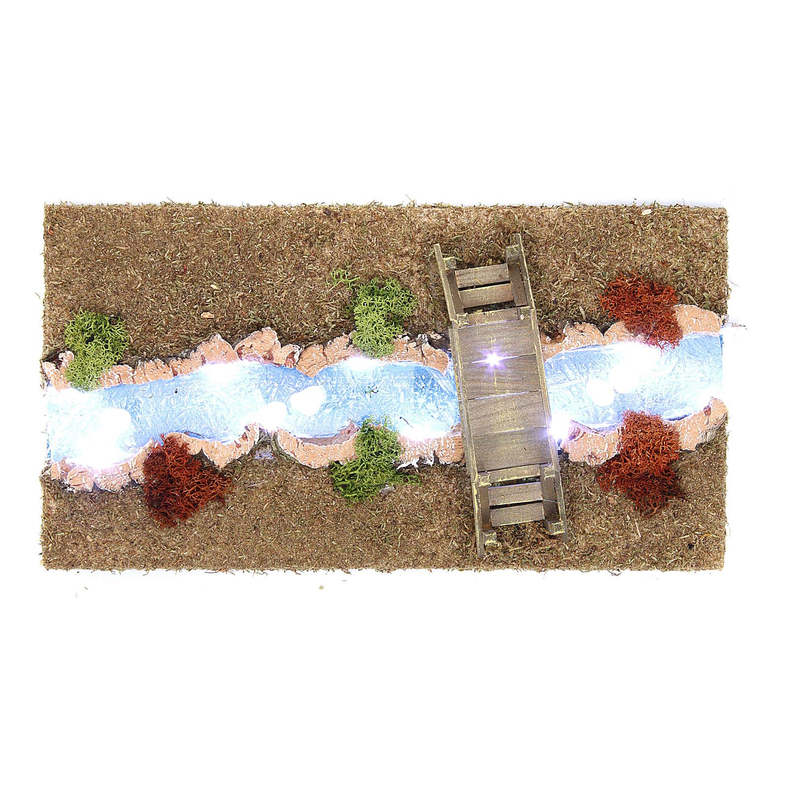 Río luminoso con puente 30x20 cm 4
