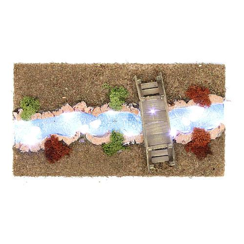Fiume luminoso con ponticello 30x20 cm 1