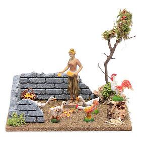Bäuerin im Hühnerstall 15x20x15 cm für DIY-Krippe s1