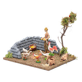 Countrywoman in henhouse for nativity scene 15x20x15 cm s2
